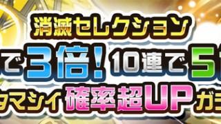 【レアガチャ】消滅セレクション登場!光属性★6進化タマシイの確率超アップ!
